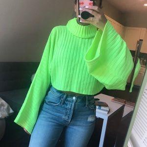 Boohoo on trend neon crop sweater